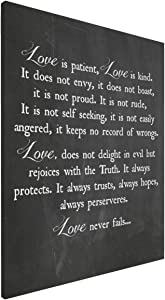 Inspirational Quote Painting Family Love Canvas Love Is Patient Love Is Kind Wall Art Black Wall Art For Bedroom Living Room Bedroom Home Decor Framed Ready To Hang 16x20 Inch