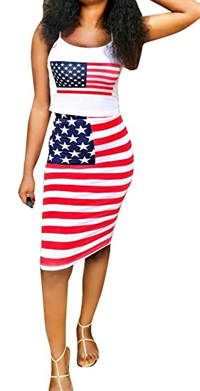 Pivaconis Womens Slim American Flag Top Tank Skirt July 4th Club
