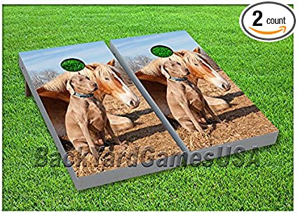 VINYL WRAPS Cornhole Boards DECALS Farm Horse and Dog Bag Toss Game Stickers 140