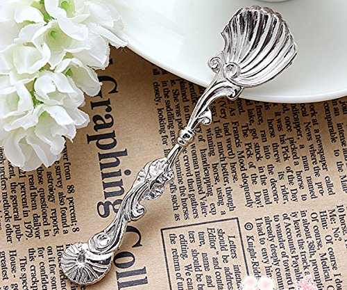 (Set of 6 Pieces Fancy Sea Shell Tea Spoon Design Silver Plated Repousse Serving Salt Sugar)