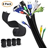 Cable Sleeve, Sungwoo Expandable Cable Management System Cable Organizer with Zipper and Buckle - 19.5'' Flexible Cord Sleeve for TV, Computer, Home Entertainment, Office - 4 Pack (Black)