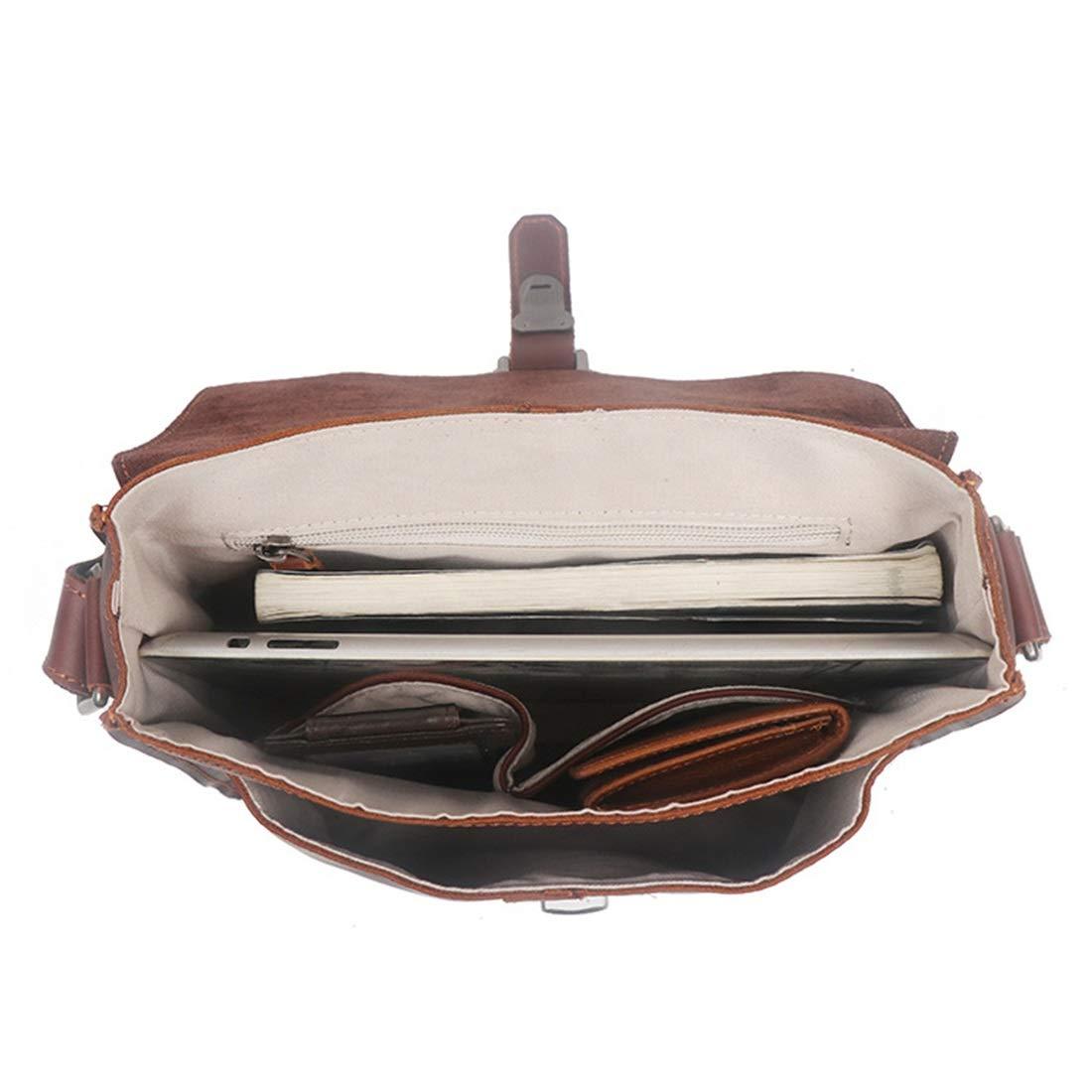 Color : Brown1 KRPENRIO Mens Vintage Genuine Leather Briefcase Messenger Shoulder Bag Tote Bag Satchel Crossbody Bag