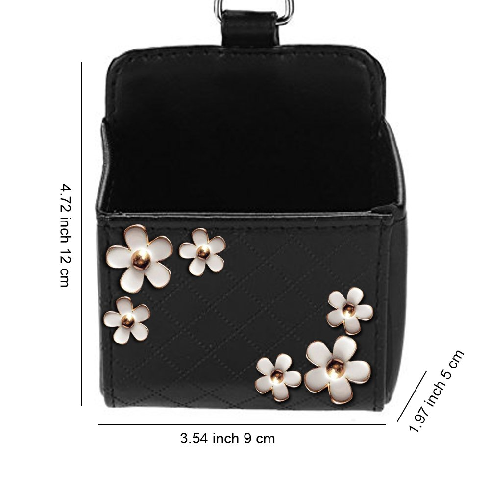 YGMONER Ladycrystal Cute PU Leather Car Storage Pocket Car Air Outlet Box Mobile Phone Bags Daisy