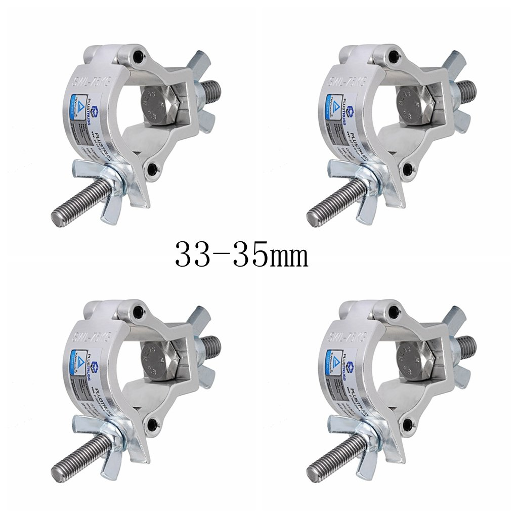 Stage Light Clamp (4pcs) Aluminum Mounting 1-1/4 to 1-3/8inch (33-35mm) OD Tubing/Pipe for Led Par Light Max Load 165lb Easydancing 3235-4