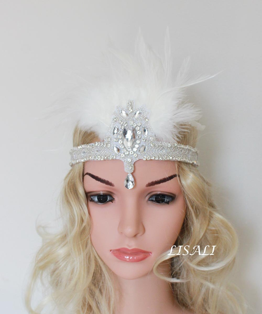 Amazon.com   LISALI Roaring 20s Vintage Feather Headband 1920s Black  Flapper Headband The Great Gatsby headpiece (White)   Beauty a066af20f0f