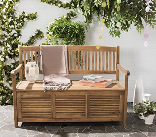 Safavieh Outdoor Collection Brisbane Teak Brown Storage - Modern Outdoor Bench Teak