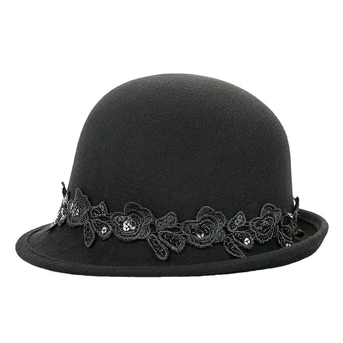 Mujer Jugador de bolos Sombrero Señoras Moda Vendimia Lana Melton Cordón Sombreros Gorra 80Store (Negro
