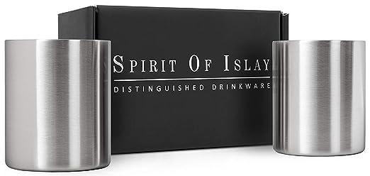 Vaso para whisky en acero inoxidable de 300 ml, Juego de 2 copas para whisky, bourbon o scotch, regalo inigualable para varones. Irrompibles, sin ...