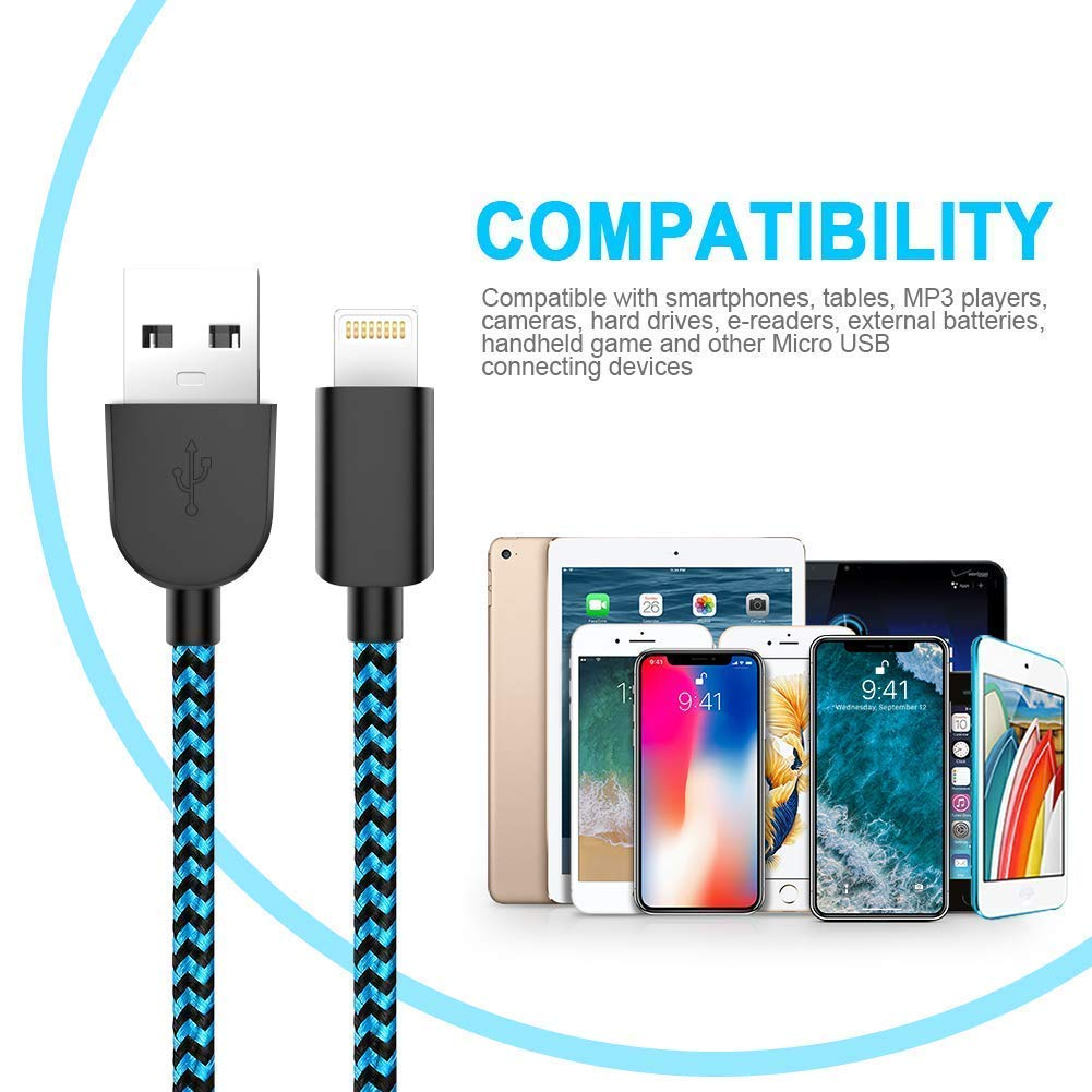 MFi Certified Phone cable【6Pack-3//3//3//6//6//10FT】Fast Charging Cord Compatible With iPhone Xs Max X 8 7 6S 6 Plus 5S and More-Black and Blue CQAIOR Phone Charger Cable
