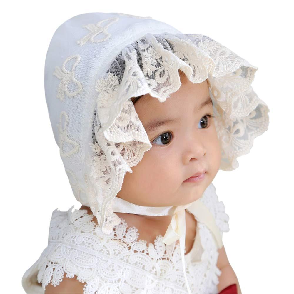 LACOFIA Newborn Girls Princess Hat Cotton Baby Bonnet Infant Lace Floral Beanie Cap with Adjustable Chin Strap