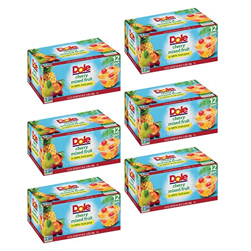 Dole Fruit Bowls, Peaches Mandarin Oranges and Cherry Mixed Fruit, 4 Ounce, 12 Count (6 Pack)