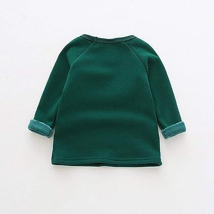 Queenaal Diseño de Moda para niñas Cuello Redondo cálido y Terciopelo Camisa básica de Fondo Ropa (Verde) (80 cm): Amazon.es: Hogar