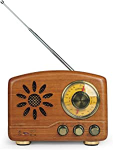 Retro Vintage Radio, Small Bluetooth Audio Player, Vintage Radio with AM and FM Radio Functions, Classic Vintage Retro Style Wooden