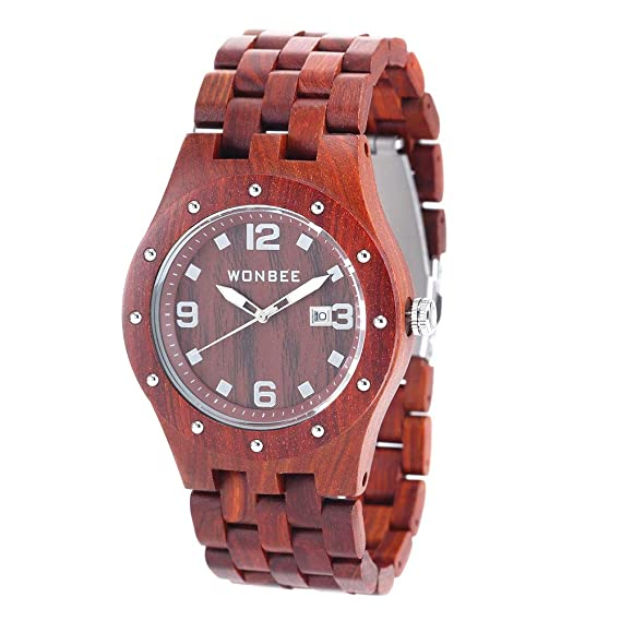 2cd6592439b5 wonbee hecha a mano de madera relojes para hombres 100% natural de la madera  de sándalo rojo hombres reloj de pulsera con fecha crear regalo para hombres   ...