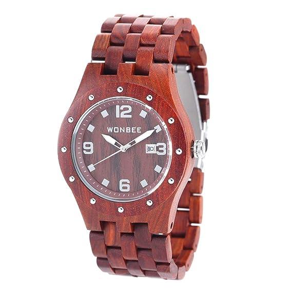 a03da34c7 wonbee hecha a mano de madera relojes para hombres 100% natural de la  madera de sándalo rojo hombres reloj de pulsera con fecha crear regalo para  hombres  ...