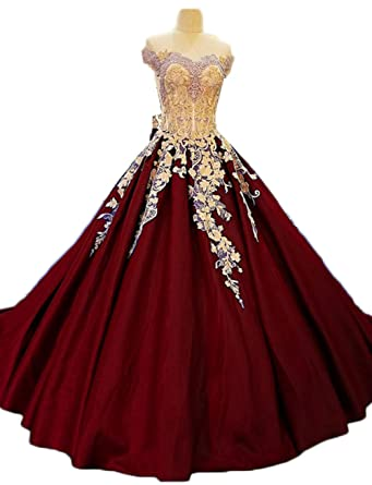 Z Sexy Off Shoulder Princess Prom Dresses Appliques Long Quinceanera Dresses for Women Ball
