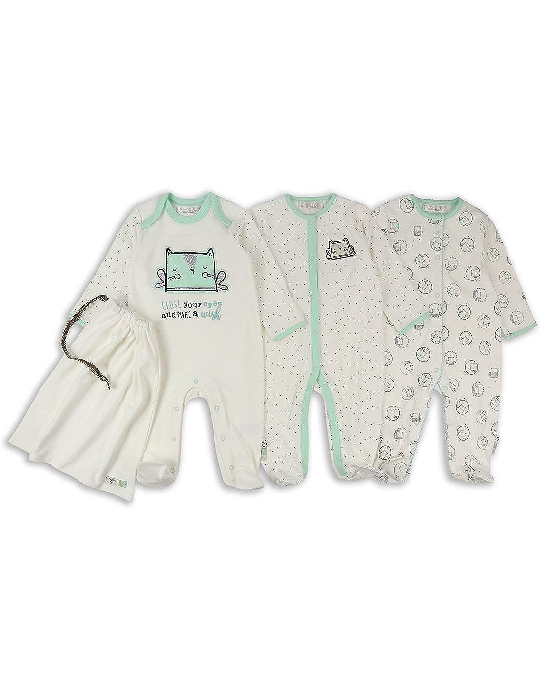 The Essential One - Bebé Niñas Deseo Pijama - Paquete de 3 - Crema - Recién Nacido 56cm - ESS214: Amazon.es: Ropa y accesorios