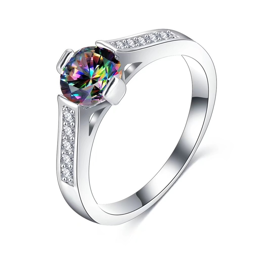 Women's 1 Ct Halo Round Brilliant Cut Solitaire Engagement Ring 18K White Gold Plated Created Mystic Rainbow Topaz CZ Filled Eternity Rings Size 6