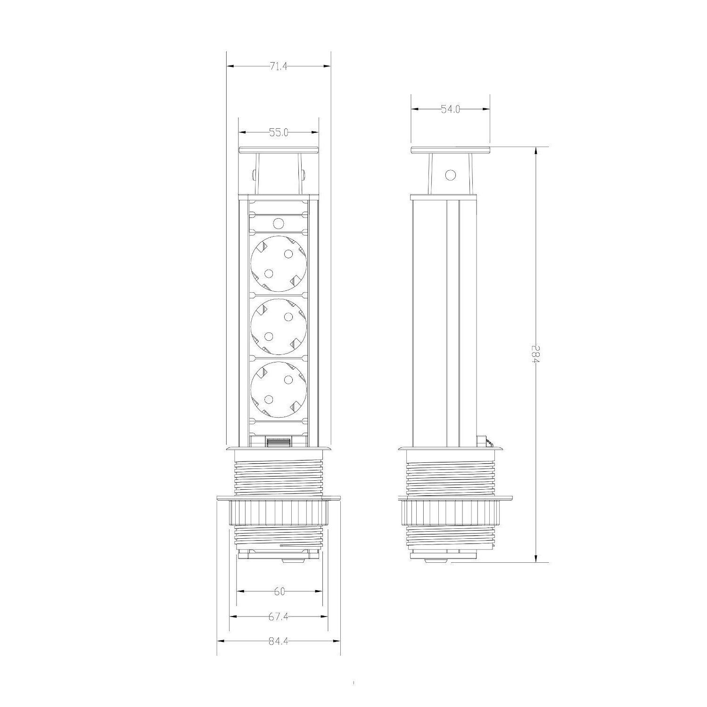 Regleta retr/áctil 250 V Apto para oficina Regleta de  Enchufe de Mesa trabajo y cocina Negro/_EL1053S Regleta de 3 Tomas Elbe Regleta de Mesa Releta vertical cable 1.5m
