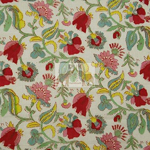 Hand Block Print Fabric Indian Cotton Printed Fabric Soft Voile Whight Fabric Indian Designer Jaipuri Fabric