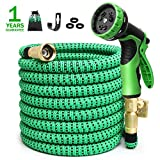 Expandable Garden Hose 50ft Expanding Water Hose, 50' Flexible Lightweight Gardening Yard Hose with 3/4 Inch 100% Solid Brass Fittings 9 Function Hose Nozzle, Outdoor Cloth Hoses(1 Year Guarantee)