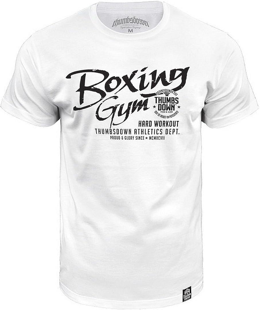 Gimnasio Boxeo Camiseta Entrenamiento Duro Thumbsdown Atletismo Dept - algodón, blanco, 100% algodón, Hombre, Chica, Blanco: Amazon.es: Ropa y accesorios