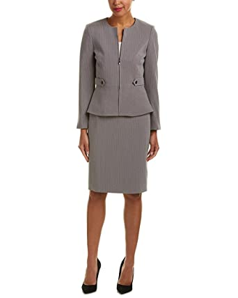 Amazon Com Tahari By Asl Women S Pinstripe Skirt Suit W Waistband