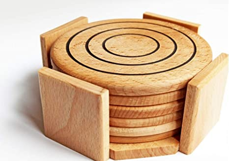 Set of 6 wooden coasters