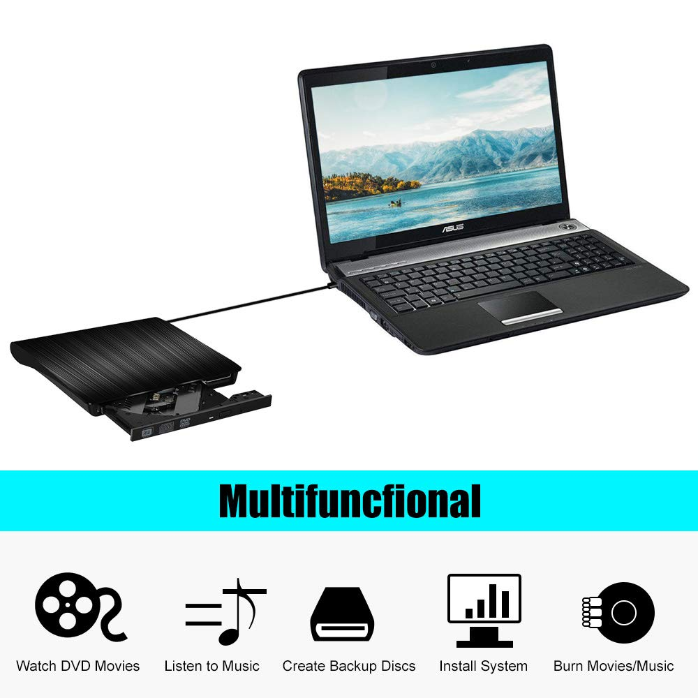 External CD/DVD Drive, USB 3.0 Portable/5.0GBPS, Fits for DVD-R/DVD-RW, DVD+R/DVD+RW, DVD-ROM, Super Speed Data Transfer, Compatible for all Brands and Operating Systems of Laptops. Windows/MAC, Black by Gotega (Image #4)