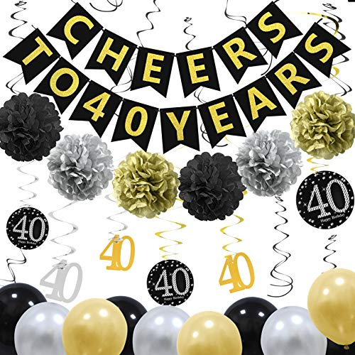 ZukoCert 40th Birthday Decorations Kit Gold Glittery Cheers to 40 Years Banner,6 Pcs Paper Pom Poms,20 Pcs Balloons,12 Pcs Sparkling Hanging Swirl Celebrate for 40th Anniversary Decorations Party Supplies]()