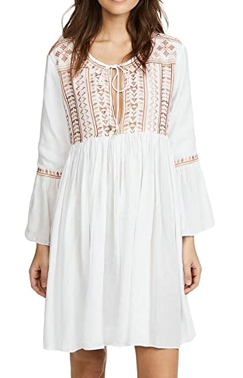 7946e511c5 Jotebriyo Women s Beach Casual Swimwear Cover Up Long Sleeve Bohemian Loose  Fit Midi Dress White OS at Amazon Women s Clothing store