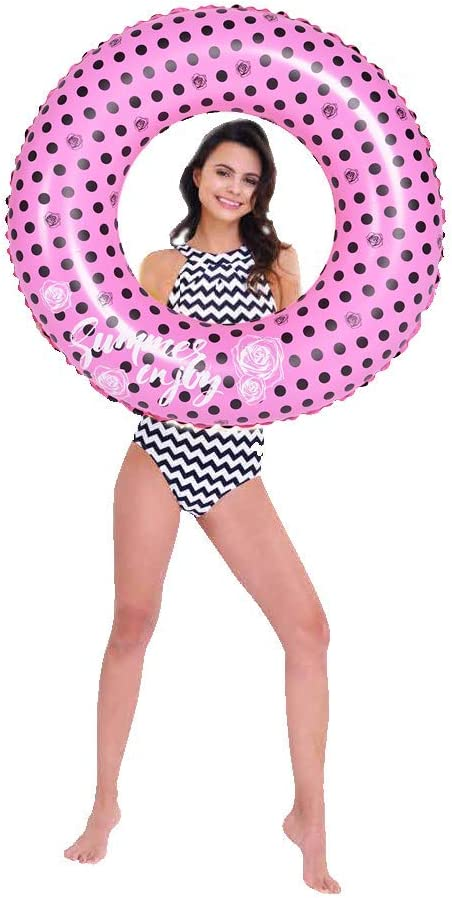 OUTERA Inflatable Swim Rings,35 Pink Swimming Pool Float Tube Outdoor Water Fun Play Beach Party Decoration Ring Toys for Kids Adults Pink Girls Beach Toy