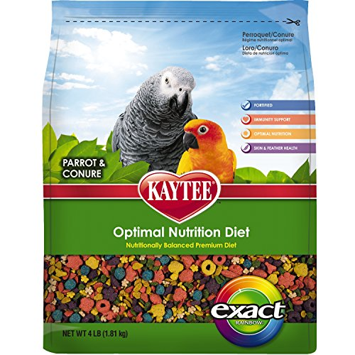 African Food Special Bird - Kaytee Exact Rainbow Premium Daily Nutrition for Parrots and Conures, 4-Pound Bag