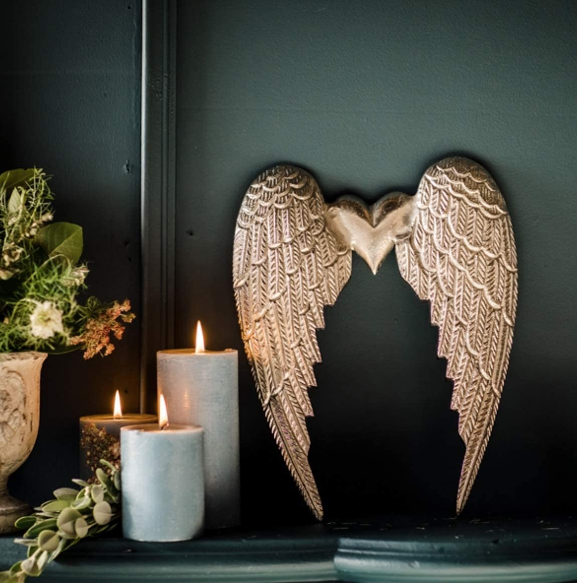 Loft 1850 Silver Heart Angel Wing Wall Hangings Medium