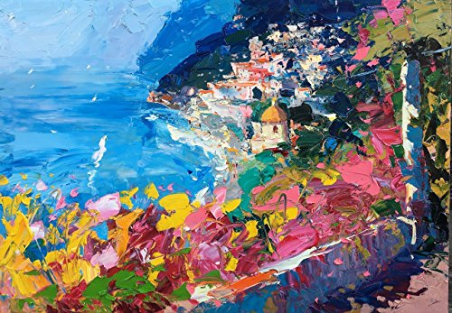 Seascape Positano Amalfi Coast Italy Canvas and Paper Art Prints Sea Sailing Flowers Terrace Sea Travel Painting Wall Home Decor Living Room Unique Gifts for Her Christmas Present Agostino Veroni