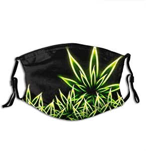 Psychedelic Green Marijuana Weed Leaf Black Comfortable Outdoor Face Dust Accessories (With 2 Filters)