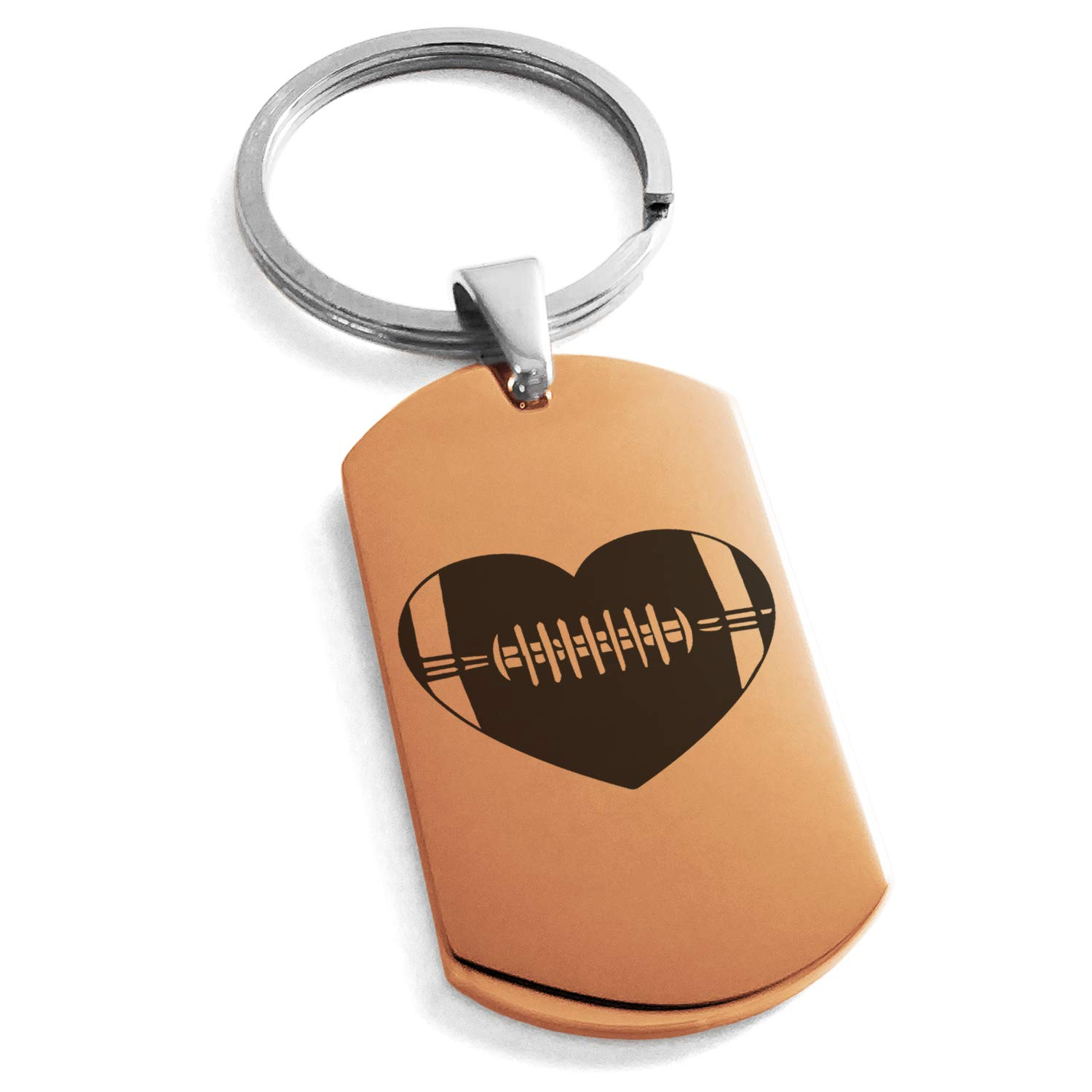 Tioneer Rose Gold Stainless Steel Love Football Heart Engraved Dog Tag Keychain Keyring