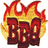 'BBQ' w/FLAMES - Iron On Embroidered Patch/Cooking, Food, Barbecue, Outdoor