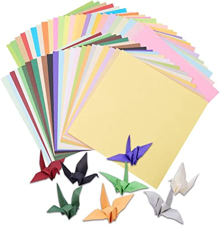 transparente 50 colores 25 x 25 cm papel de manualidades de colores con los ojos para Navidad Baoweihua 100 hojas de papel para origami origami manualidades y proyectos de manualidades