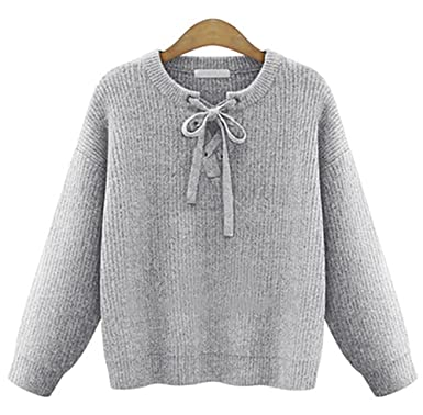 05f394cfb33f37 QZUnique Women s Round Pullover Sweater Casual Long Batwing Sleeves Plain  Lace Up Grey L