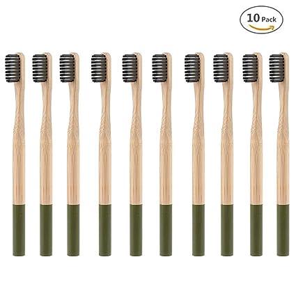 Cepillo de dientes de madera natural ecológico de bambú hecho con carbón de bambú y cerdas