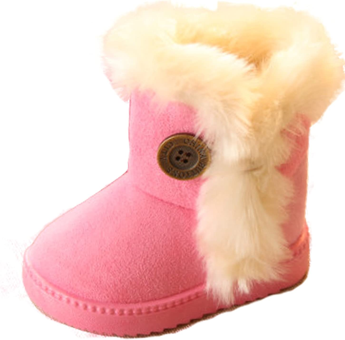 Gaorui Unisex Kids Boys Girls Plus Size Winer Snow Boots Fleece Faux Fur Thicken Shoes