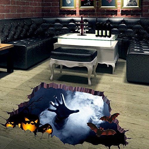 3D Halloween Horror Wall Sticker Decor Removable Home Floor Room Party Wallpaper (palm)