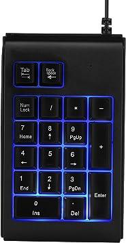 ASHATA Teclado Numérico USB, Mini Teclado Inalámbrico 19 Teclas Mecánico con Luces de Respiración RGB para Sistemas Microsoft, Android, iMac.