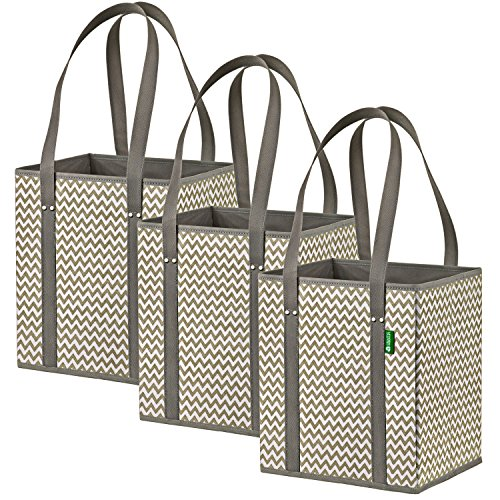 Reusable Grocery Shopping Box Bags (3 Pack - Chevron), Premium Quality Heavy Duty Tote Bag Set with Extra Long Handles & Reinforced Bottom. Foldable, Collapsible, Durable & Eco Friendly