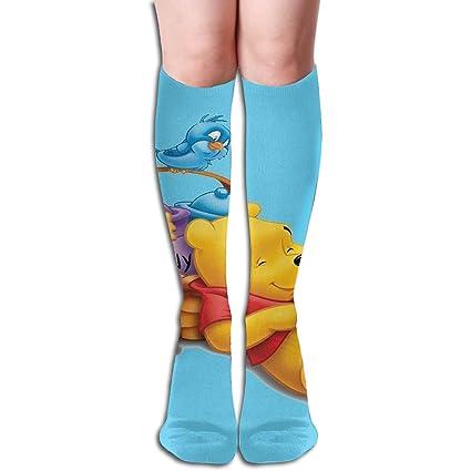 edb54511a Image Unavailable. Image not available for. Color  JINUNNU Knee High Socks  Cartoon Winnie The Pooh ...