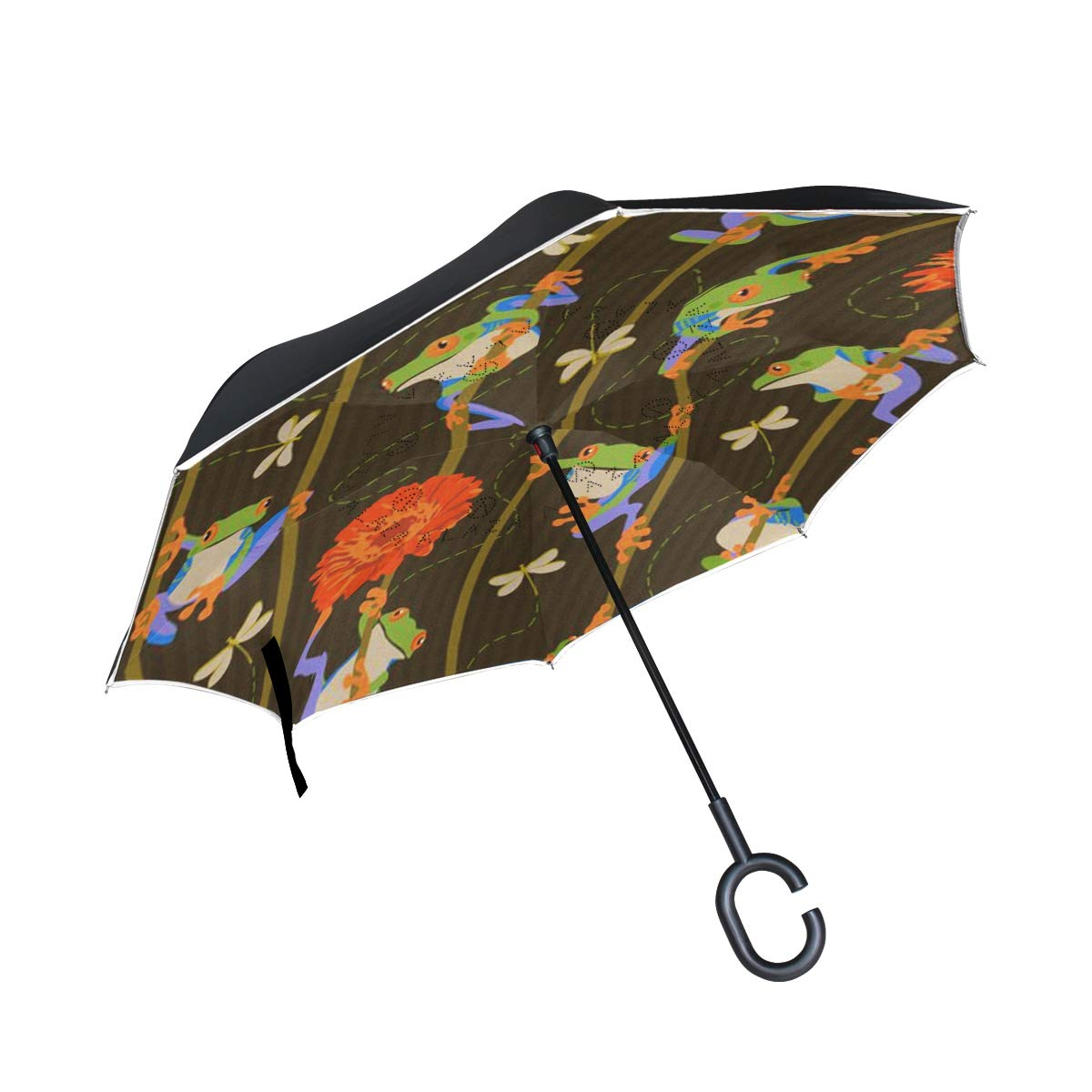 Gaz X Frog Fun Stripe Inverted Umbrella Double Layer Windproof UV Protection Large Upside Down Straight Umbrella for Car Rain with C-Shaped Handle
