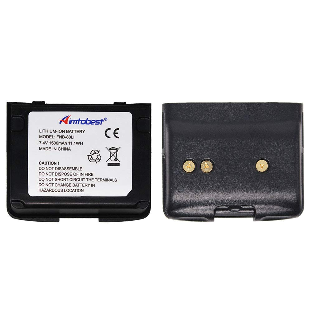 Aimtobest 1500mAh Lithium-ion Battery Compatible for Vertex FNB-80Li FNB-58Li VX-5 VX-6 VX-6R/E VX-7R VXA-700 VXA-710 Standard Horizon HX460S HX460SS HX470S HX471 HX471S HX471SS Two Way Radio 2Pack