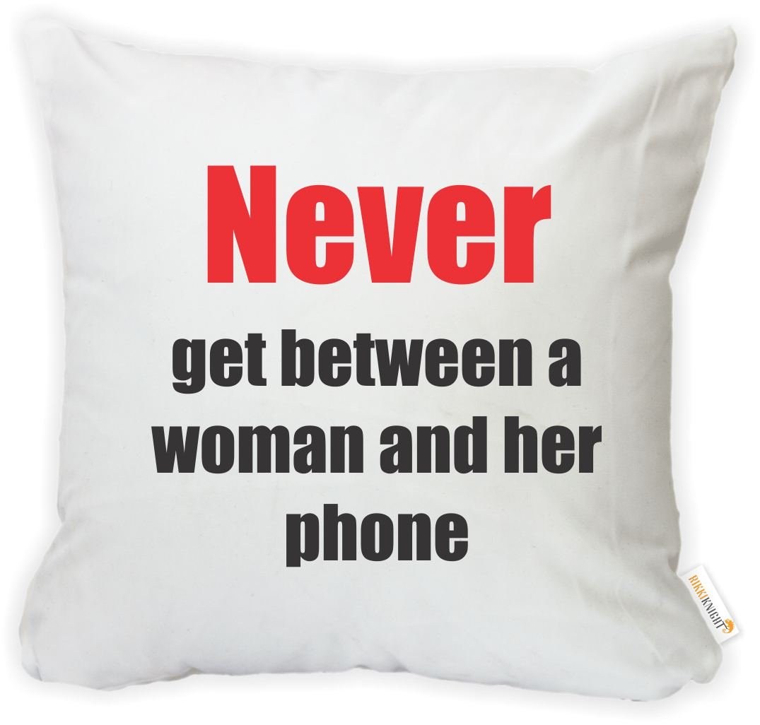 Printed in The USA Insert Included Rikki Knight 16 x 16 inch Rikki KnightNever Get Between a Woman and Her Phone Microfiber Throw Pillow Cushion Square with Hidden Zipper