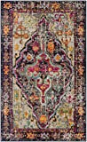 Safavieh Monaco Collection MNC247R Vintage Bohemian Medallion Distressed Grey and Fuchsia Pink Area Rug (3′ x 5′) Review